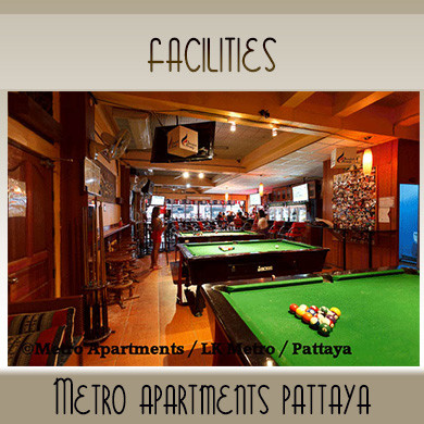 Facilities | HD Screens | Pool Tables | Metro Apartments Pattaya