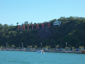 Pattaya City Sign and beach